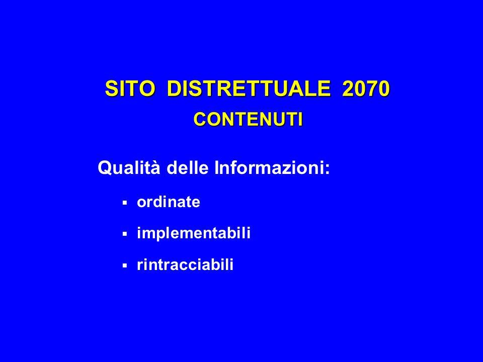 SITO DISTRETTUALE 2070 CONTENUTI Qualità delle Informazioni:  ordinate  implementabili  rintracciabili
