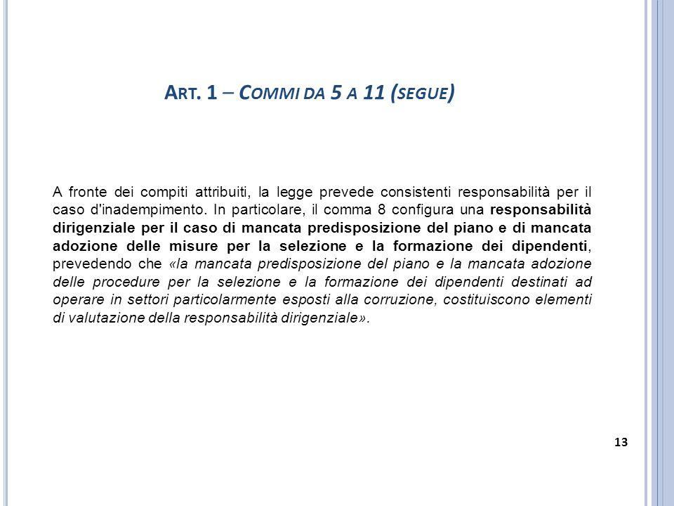 A fronte dei compiti attribuiti, la legge prevede consistenti responsabilità per il caso d'inadempimento. In particolare, il comma 8 configura una res