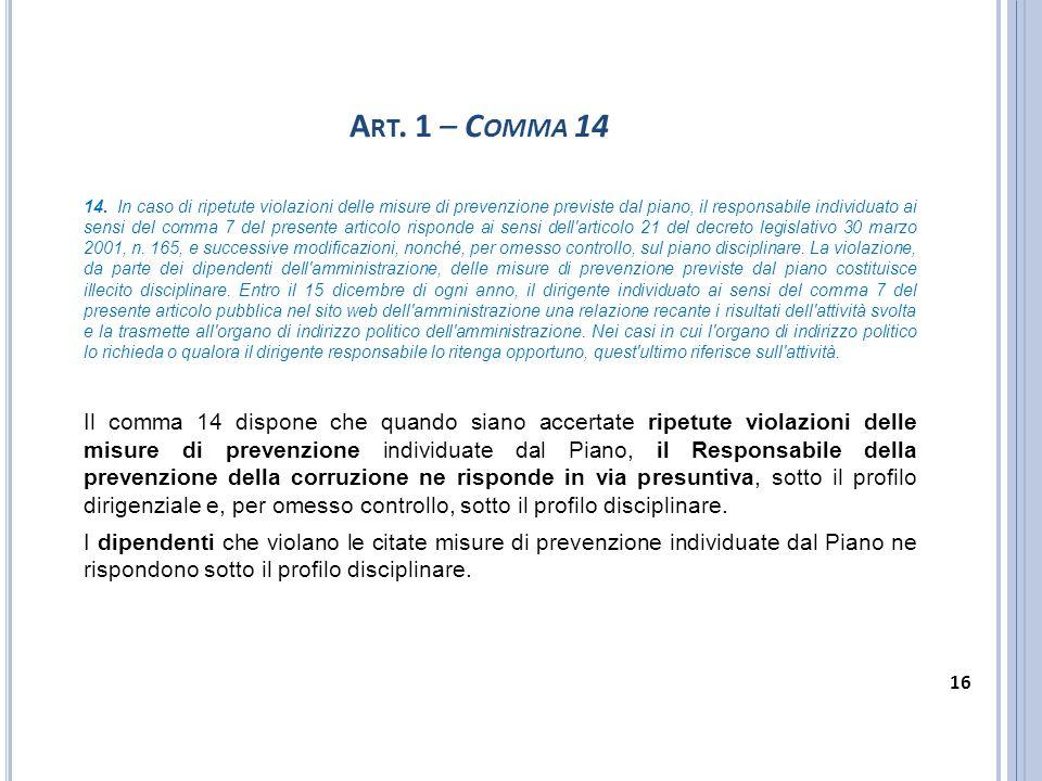 A RT. 1 – C OMMA 14 14. In caso di ripetute violazioni delle misure di prevenzione previste dal piano, il responsabile individuato ai sensi del comma