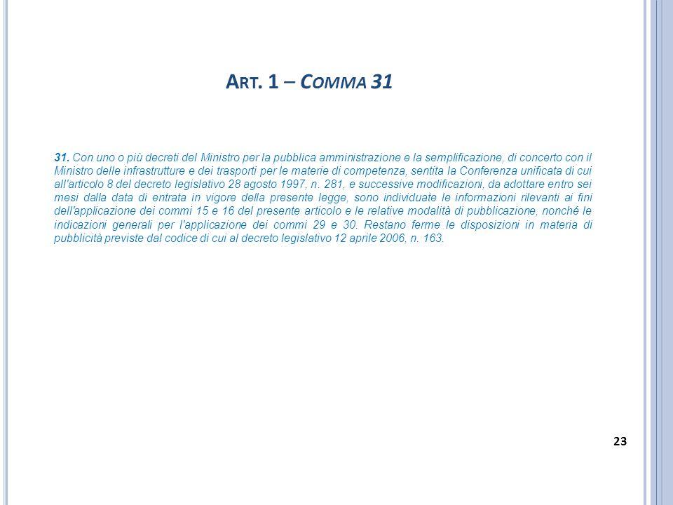A RT. 1 – C OMMA 31 31. Con uno o più decreti del Ministro per la pubblica amministrazione e la semplificazione, di concerto con il Ministro delle inf
