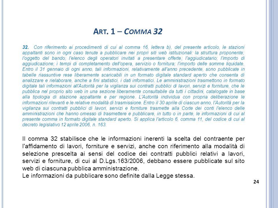 A RT. 1 – C OMMA 32 32. Con riferimento ai procedimenti di cui al comma 16, lettera b), del presente articolo, le stazioni appaltanti sono in ogni cas