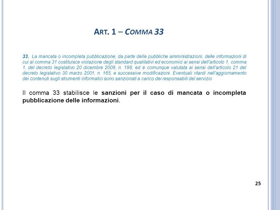 A RT. 1 – C OMMA 33 33. La mancata o incompleta pubblicazione, da parte delle pubbliche amministrazioni, delle informazioni di cui al comma 31 costitu