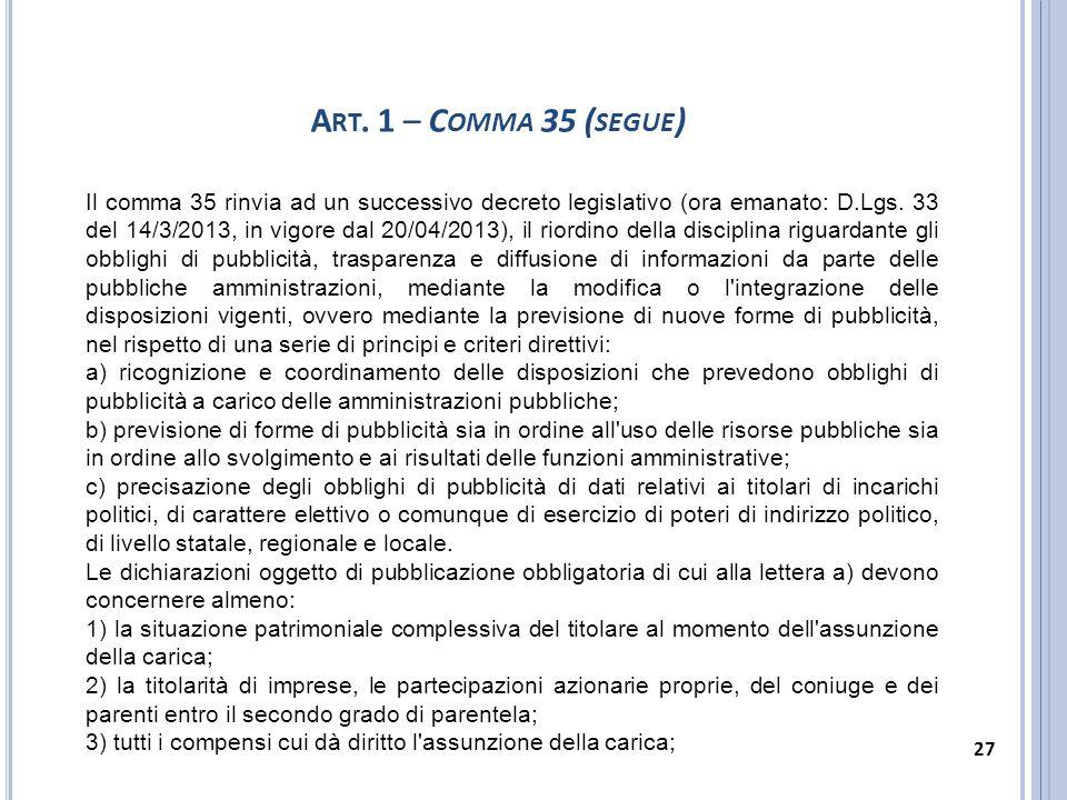 Il comma 35 rinvia ad un successivo decreto legislativo (ora emanato: D.Lgs. 33 del 14/3/2013, in vigore dal 20/04/2013), il riordino della disciplina