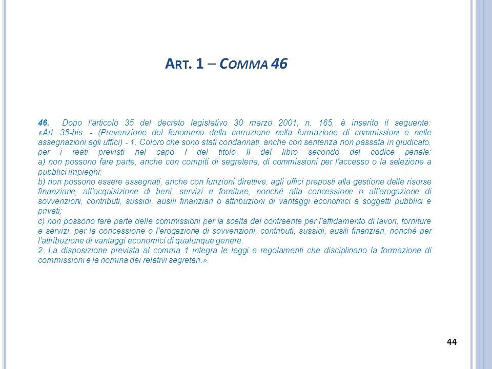 A RT. 1 – C OMMA 46 46. Dopo l'articolo 35 del decreto legislativo 30 marzo 2001, n. 165, è inserito il seguente: «Art. 35-bis. - (Prevenzione del fen