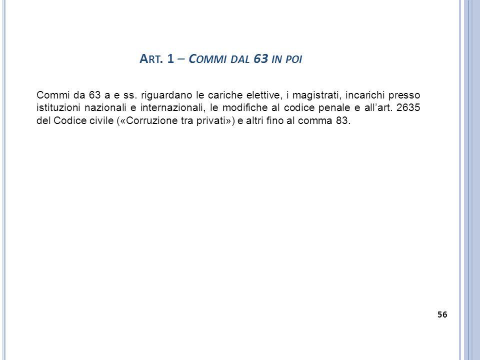 A RT. 1 – C OMMI DAL 63 IN POI Commi da 63 a e ss. riguardano le cariche elettive, i magistrati, incarichi presso istituzioni nazionali e internaziona