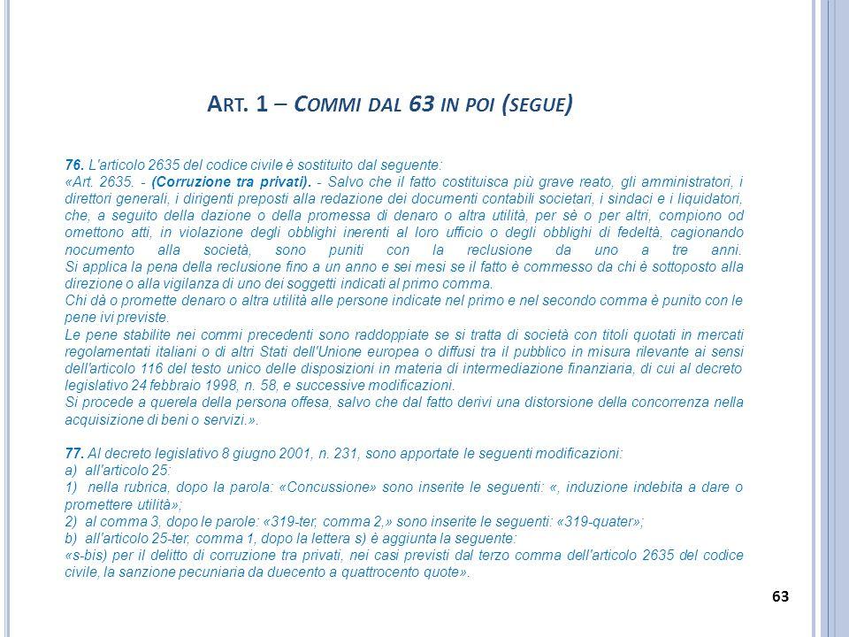 76. L'articolo 2635 del codice civile è sostituito dal seguente: «Art. 2635. - (Corruzione tra privati). - Salvo che il fatto costituisca più grave re