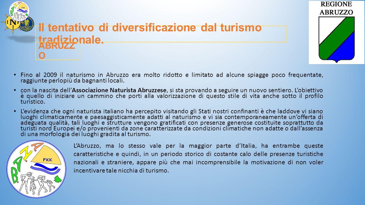 Il tentativo di diversificazione dal turismo tradizionale. Fino al 2009 il naturismo in Abruzzo era molto ridotto e limitato ad alcune spiagge poco fr