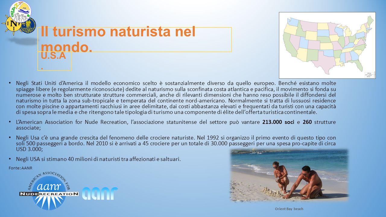 Il turismo naturista nel mondo. Negli Stati Uniti d'America il modello economico scelto è sostanzialmente diverso da quello europeo. Benché esistano m