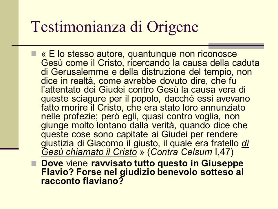 Testimonianza di Origene « E lo stesso autore, quantunque non riconosce Gesù come il Cristo, ricercando la causa della caduta di Gerusalemme e della d