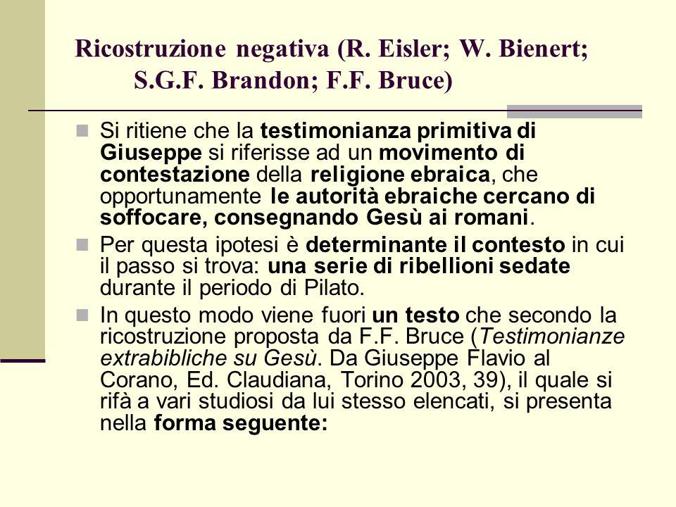 Ricostruzione negativa (R. Eisler; W. Bienert; S.G.F. Brandon; F.F. Bruce) Si ritiene che la testimonianza primitiva di Giuseppe si riferisse ad un mo