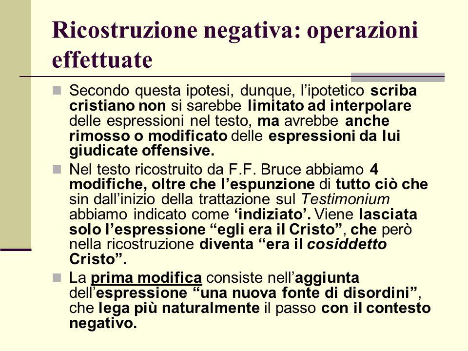 Ricostruzione negativa: operazioni effettuate Secondo questa ipotesi, dunque, l'ipotetico scriba cristiano non si sarebbe limitato ad interpolare dell