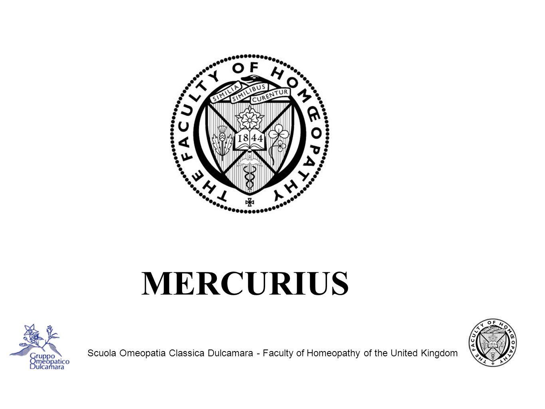 Scuola Omeopatia Classica Dulcamara - Faculty of Homeopathy of the United Kingdom MERCURIUS DULCIS Hg2Cl2,cloruro mercuroso, detto anche calomelano, è una polvere cristallina bianca, poco solubile in acqua, usata come vermifugo e purgante e f.