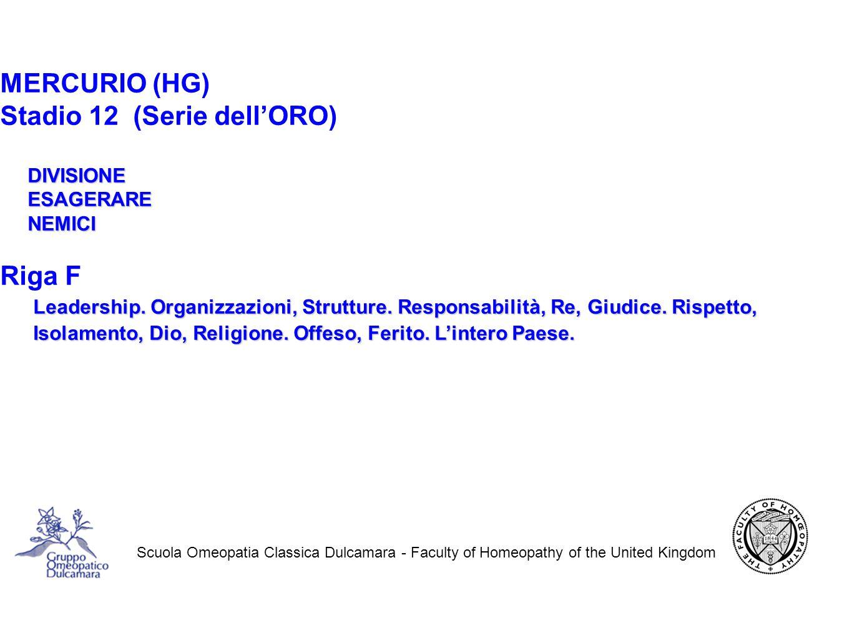 Scuola Omeopatia Classica Dulcamara - Faculty of Homeopathy of the United Kingdom MERCURIO (HG) Stadio 12 (Serie dell'ORO) DIVISIONE DIVISIONE ESAGERARE ESAGERARE NEMICI NEMICI Riga F Leadership.