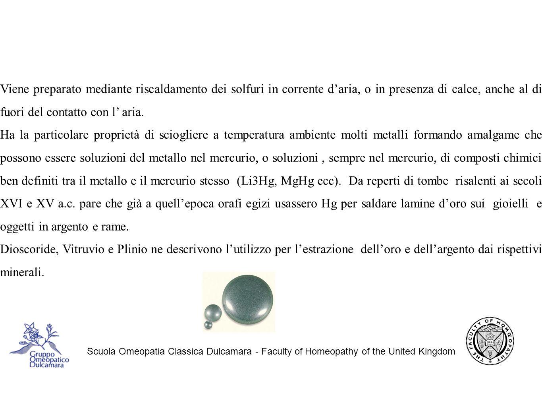 Scuola Omeopatia Classica Dulcamara - Faculty of Homeopathy of the United Kingdom Viene preparato mediante riscaldamento dei solfuri in corrente d'aria, o in presenza di calce, anche al di fuori del contatto con l' aria.