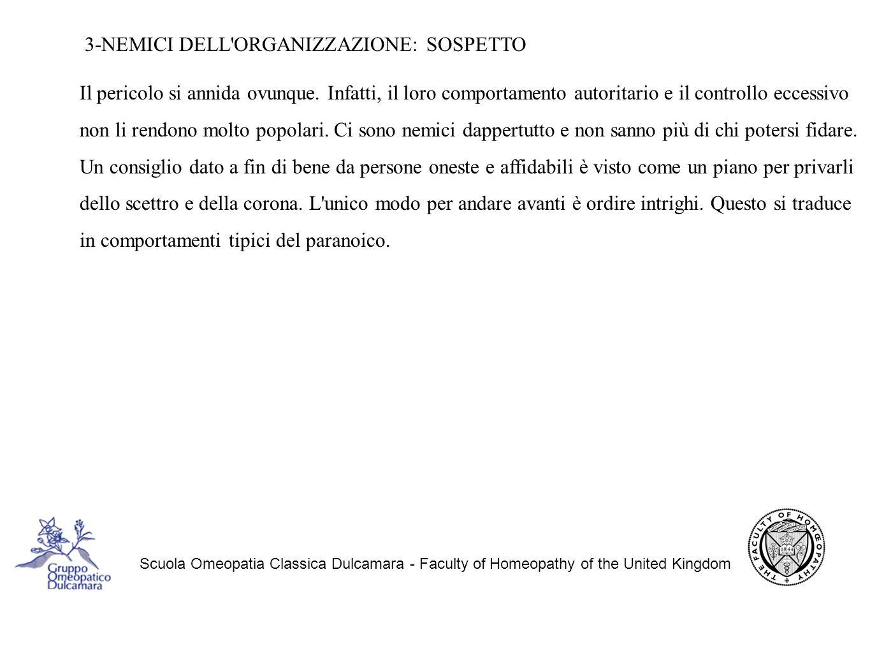 Scuola Omeopatia Classica Dulcamara - Faculty of Homeopathy of the United Kingdom 3-NEMICI DELL ORGANIZZAZIONE: SOSPETTO Il pericolo si annida ovunque.