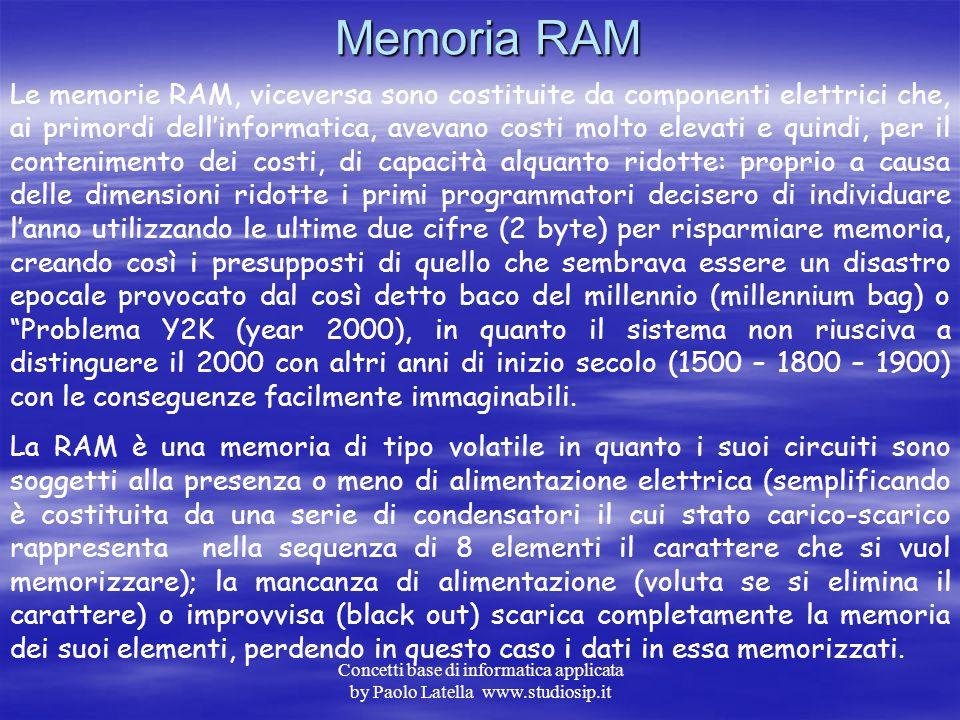 Concetti base di informatica applicata by Paolo Latella www.studiosip.it Memoria ROM Come visto nello schema precedente per ROM s'intende una memoria