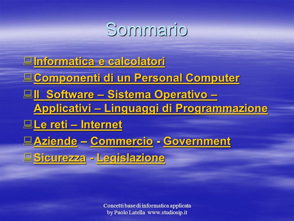 Concetti base di informatica applicata by Paolo Latella www.studiosip.it Informatica di base Imparare a lavorare con un Personal Computer