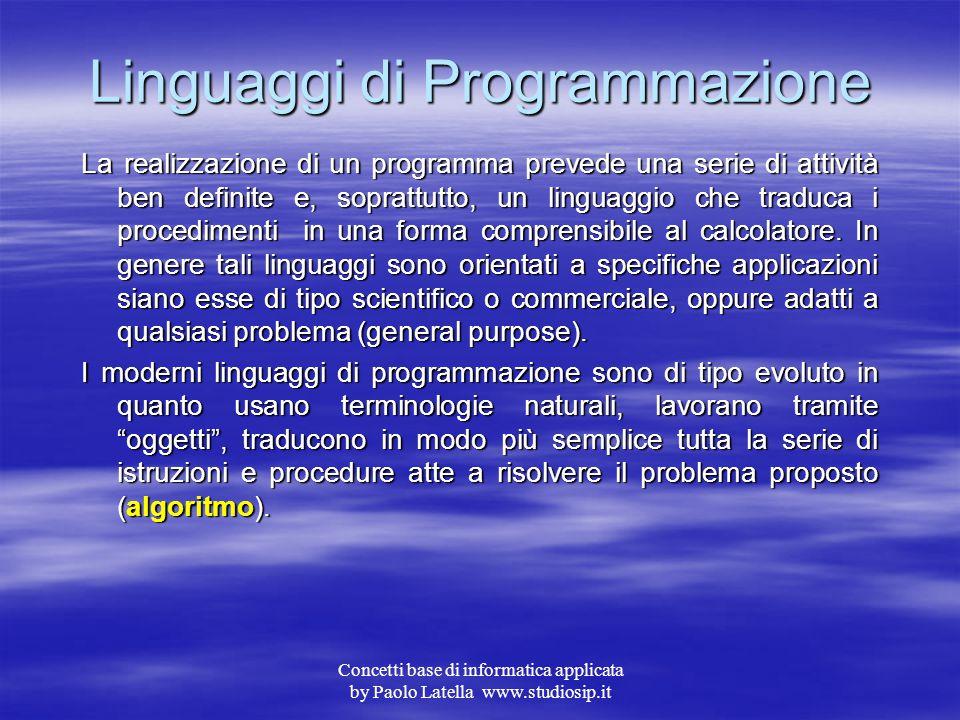 Concetti base di informatica applicata by Paolo Latella www.studiosip.it Applicativi Per applicativo si intende un programma o un insieme di programmi