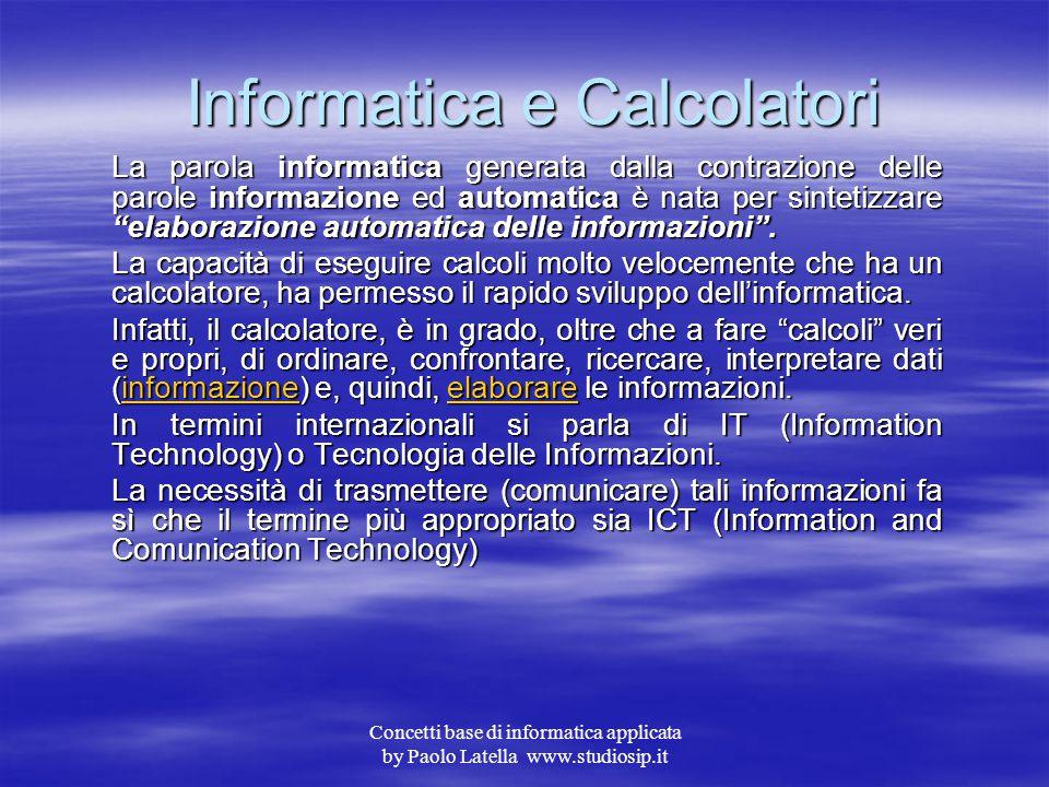 Concetti base di informatica applicata by Paolo Latella www.studiosip.it Sommario  Informatica e calcolatori Informatica e calcolatori Informatica e