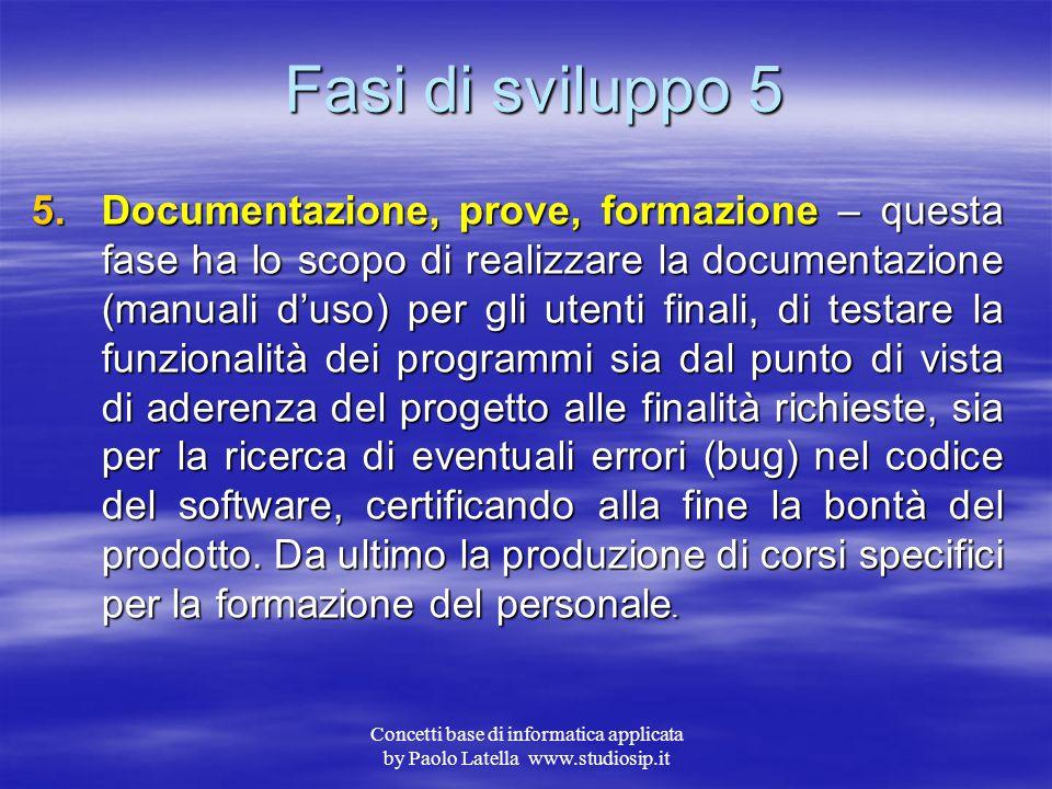 Concetti base di informatica applicata by Paolo Latella www.studiosip.it Fasi di sviluppo 4 4.Realizzazione – genera il prodotto del progetto, ovveros