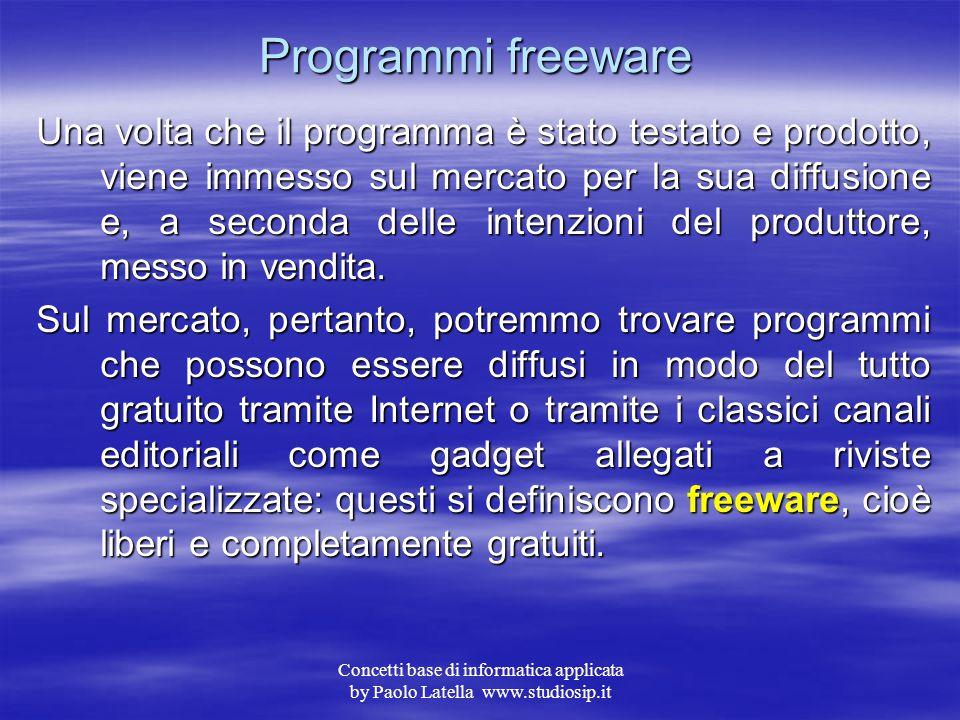 Concetti base di informatica applicata by Paolo Latella www.studiosip.it Fasi di sviluppo 6 6.Produzione – è la fase finale del progetto o rilascio de