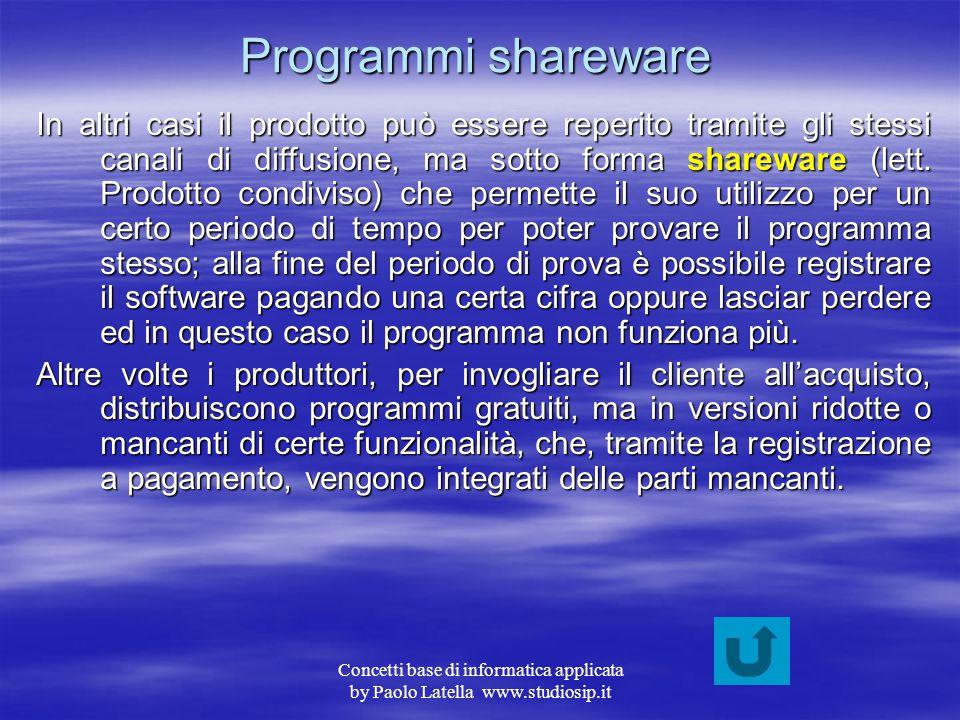 Concetti base di informatica applicata by Paolo Latella www.studiosip.it Programmi freeware Una volta che il programma è stato testato e prodotto, vie