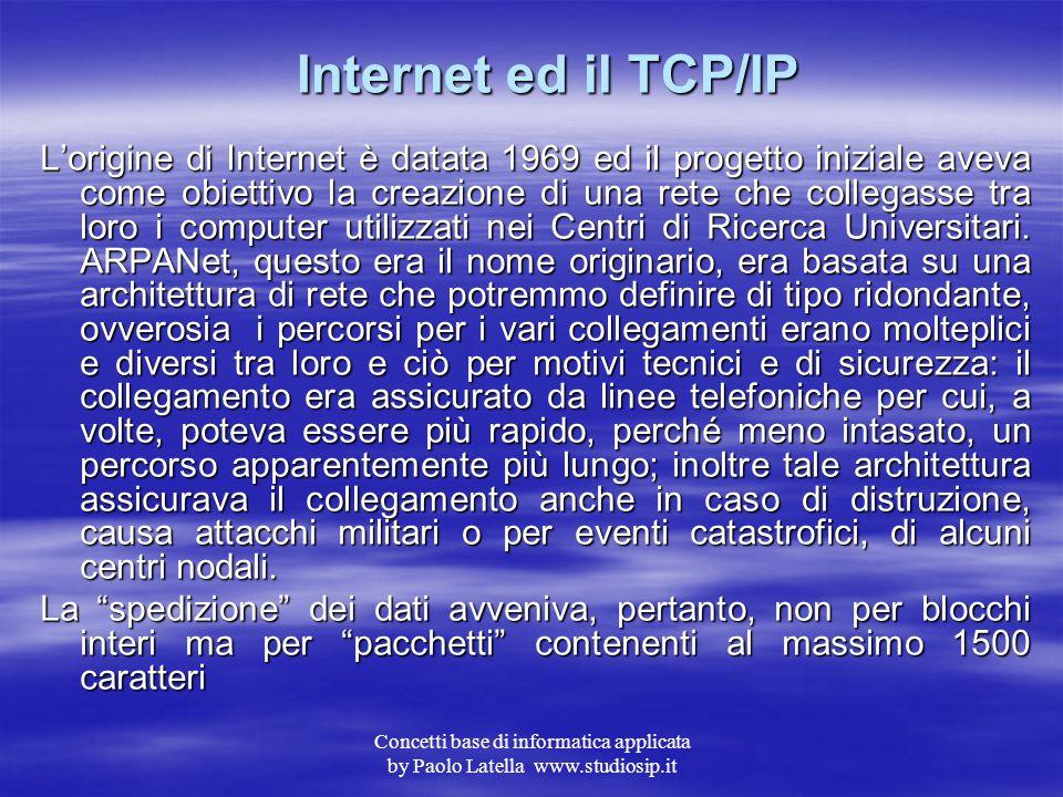 Concetti base di informatica applicata by Paolo Latella www.studiosip.it Architettura Client/Server Sia che si parli di LAN o di WAN si utilizzano sis