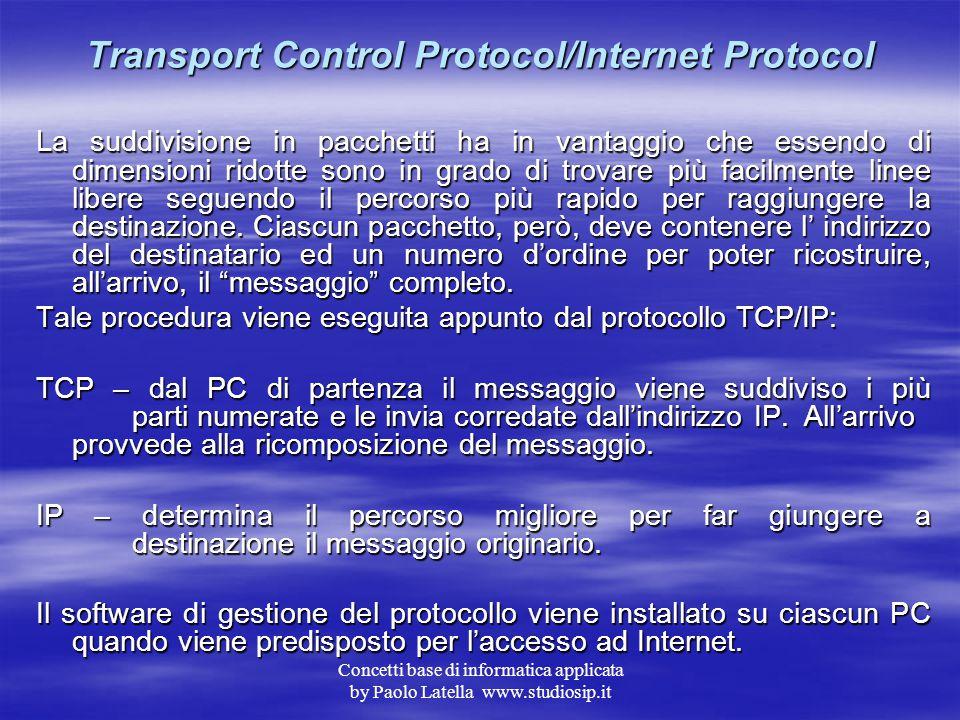 Concetti base di informatica applicata by Paolo Latella www.studiosip.it Internet ed il TCP/IP L'origine di Internet è datata 1969 ed il progetto iniz