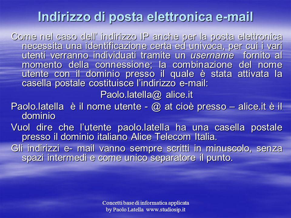 Concetti base di informatica applicata by Paolo Latella www.studiosip.it La posta elettronica Uno dei servizi più utili ed utilizzati tra quelli dispo