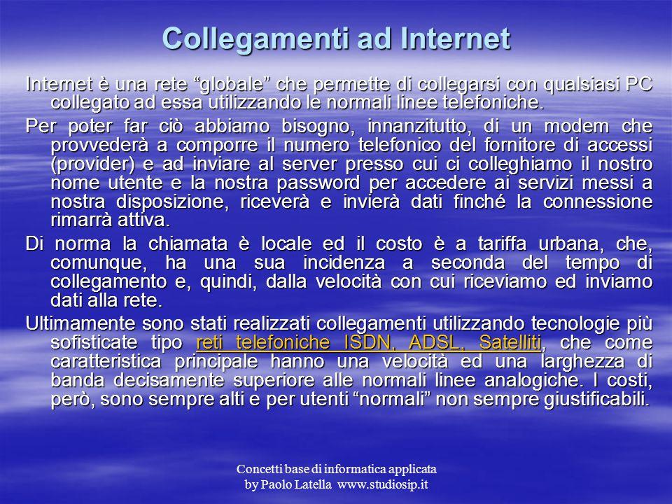 Concetti base di informatica applicata by Paolo Latella www.studiosip.it Indirizzo di posta elettronica e-mail Come nel caso dell' indirizzo IP anche