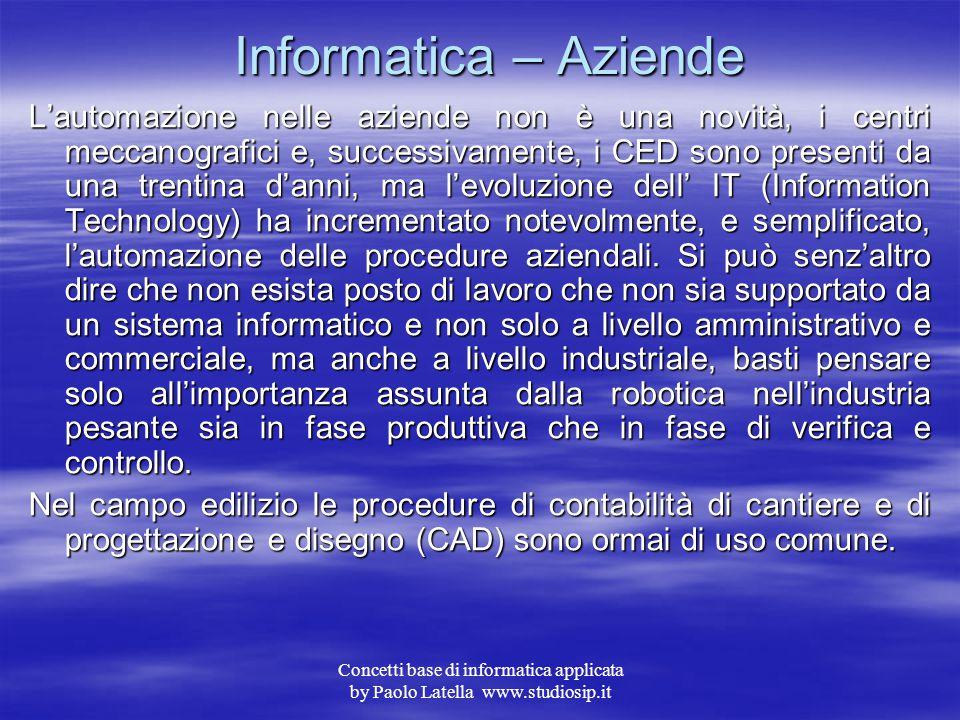 Concetti base di informatica applicata by Paolo Latella www.studiosip.it Attivazione di un collegamento Internet Ormai l'attivazione di un abbonamento