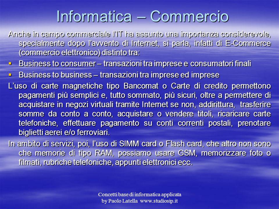 Concetti base di informatica applicata by Paolo Latella www.studiosip.it Informatica – Aziende L'automazione nelle aziende non è una novità, i centri