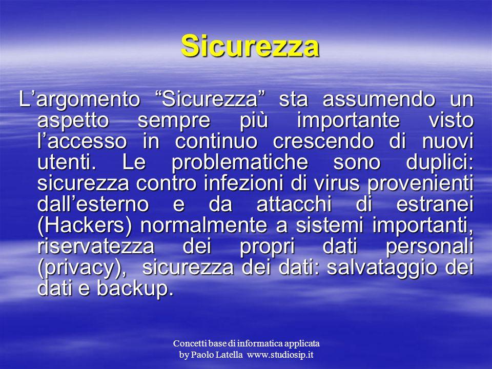 Concetti base di informatica applicata by Paolo Latella www.studiosip.it Informatica – Government Anche se buone ultime, anche le Amministrazioni Pubb