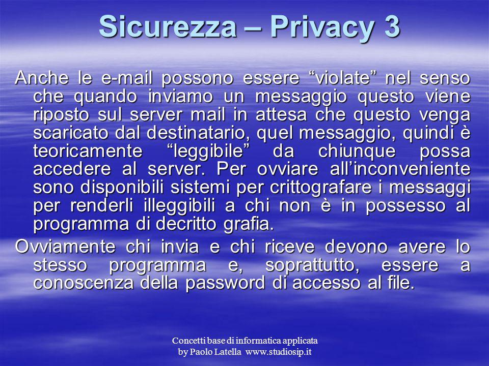 Concetti base di informatica applicata by Paolo Latella www.studiosip.it Sicurezza – Privacy 2 Con la diffusione massiccia di tale forme di acquisto e