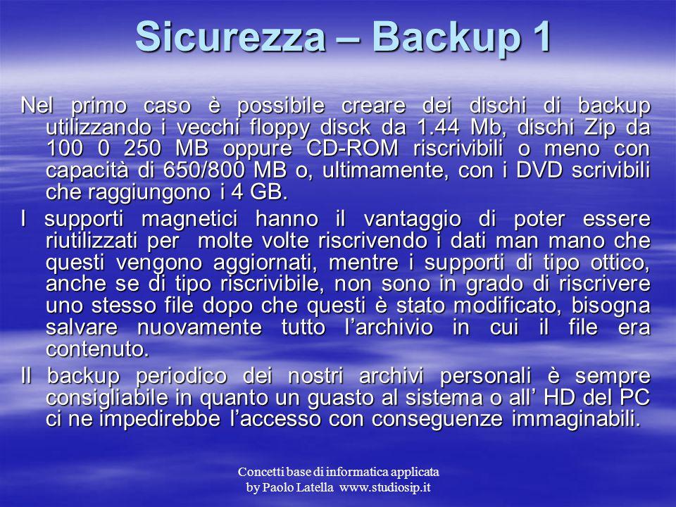 Concetti base di informatica applicata by Paolo Latella www.studiosip.it Sicurezza – Backup Un aspetto sempre più importante e problematico è l'archiv