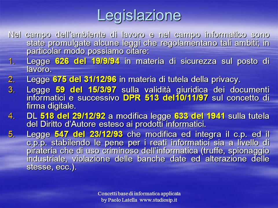 Concetti base di informatica applicata by Paolo Latella www.studiosip.it Sicurezza – Backup 2 Nel secondo caso, data la massa enorme di dati da salvar