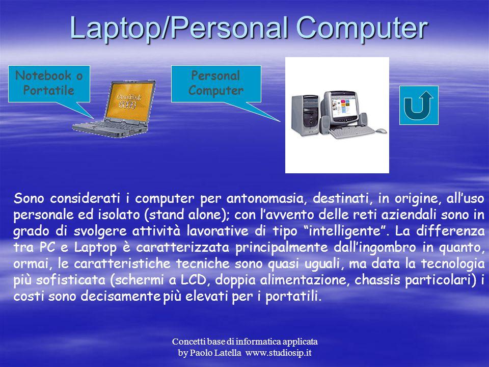 Concetti base di informatica applicata by Paolo Latella www.studiosip.it Palmari Da piccole agende elettroniche con capacità di calcolo e di data base