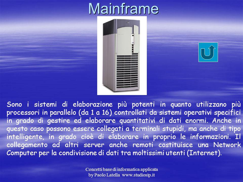 Concetti base di informatica applicata by Paolo Latella www.studiosip.it Minicomputer Sistemi informatici di media potenza che utilizzano processori i