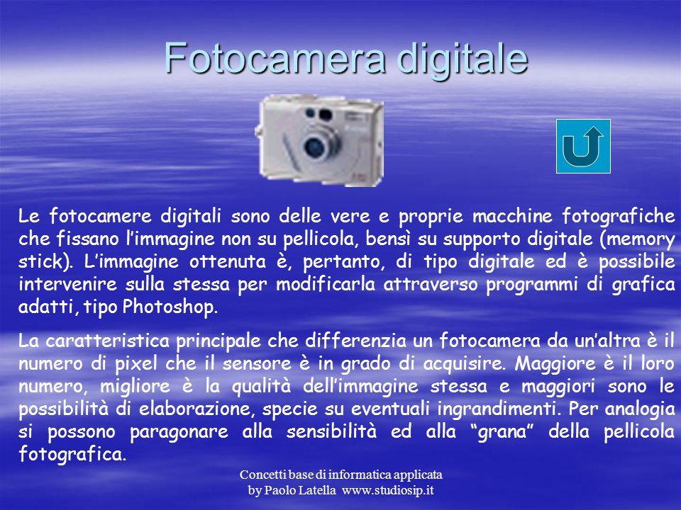 """Concetti base di informatica applicata by Paolo Latella www.studiosip.it Web Cam La web cam è un dispositivo che permette la """"cattura"""" di immagini dig"""