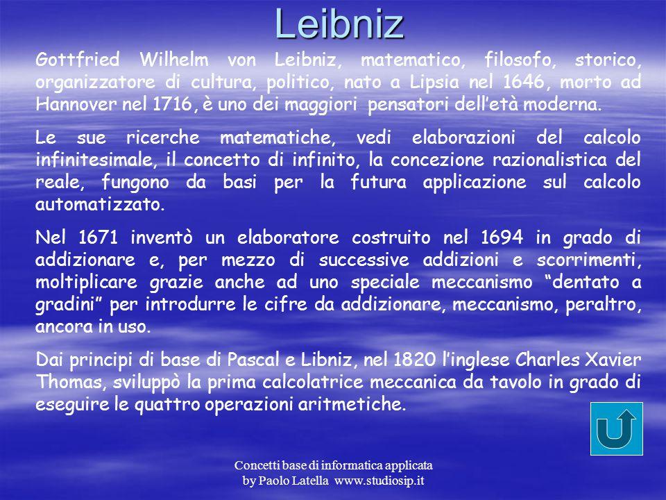 Concetti base di informatica applicata by Paolo Latella www.studiosip.itPascal Blaise Pascal, matematico, fisico, filosofo e teologo, nato a Clermont