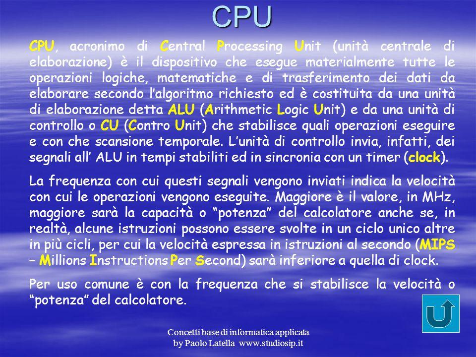 """Concetti base di informatica applicata by Paolo Latella www.studiosip.itElaborazione Le informazioni comunque ricevute, sono a loro volta """"elaborate"""""""