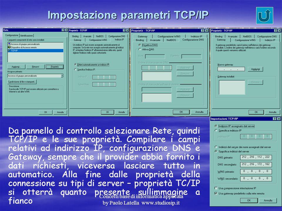 Concetti base di informatica applicata by Paolo Latella www.studiosip.it Installazione protocollo TCP/IP
