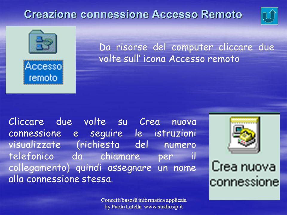 Concetti base di informatica applicata by Paolo Latella www.studiosip.it Impostazione parametri TCP/IP Da pannello di controllo selezionare Rete, quin