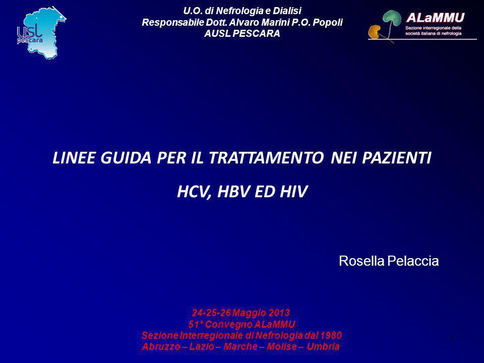 1 LINEE GUIDA PER IL TRATTAMENTO NEI PAZIENTI HCV, HBV ED HIV Rosella Pelaccia U.O. di Nefrologia e Dialisi Responsabile Dott. Alvaro Marini P.O. Popo