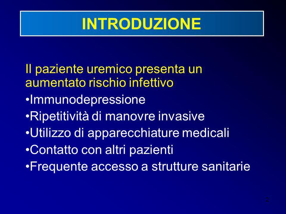 2 INTRODUZIONE Il paziente uremico presenta un aumentato rischio infettivo Immunodepressione Ripetitività di manovre invasive Utilizzo di apparecchiat