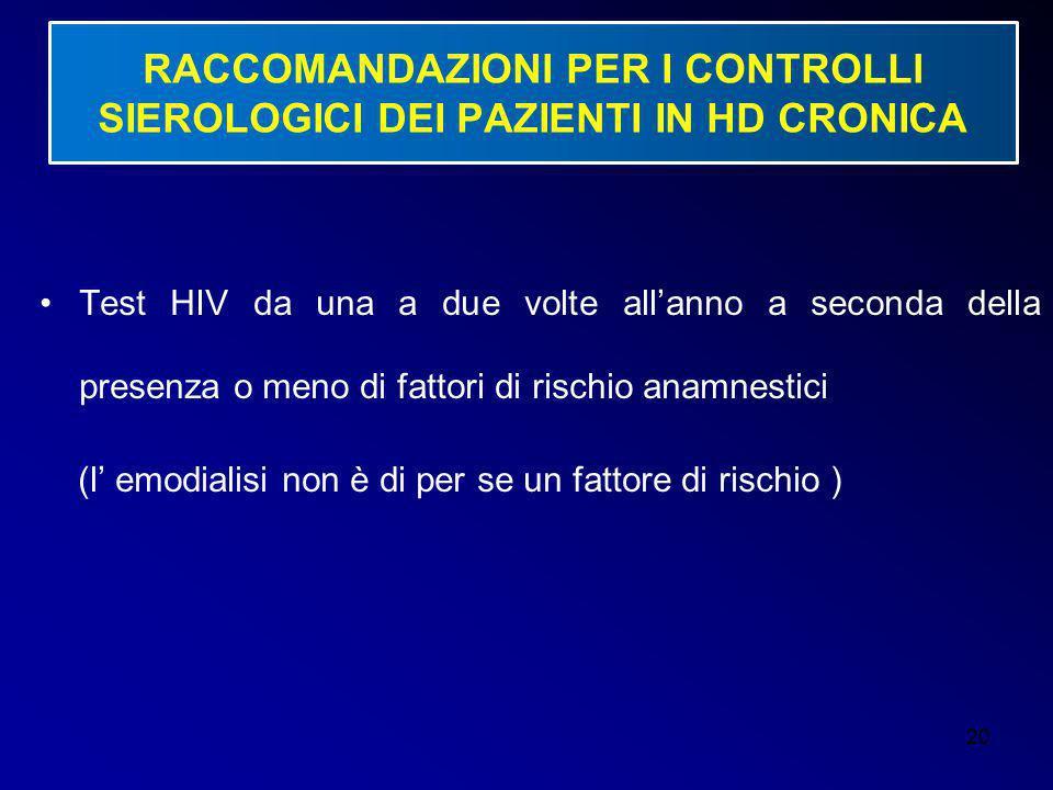 20 RACCOMANDAZIONI PER I CONTROLLI SIEROLOGICI DEI PAZIENTI IN HD CRONICA Test HIV da una a due volte all'anno a seconda della presenza o meno di fatt