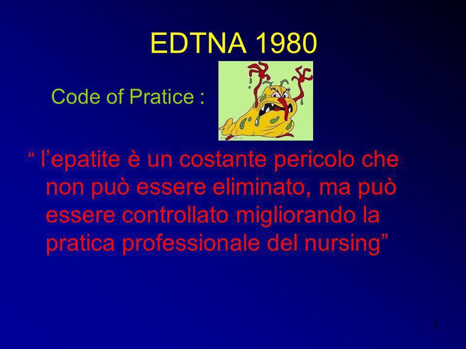 """3 EDTNA 1980 Code of Pratice : """" l'epatite è un costante pericolo che non può essere eliminato, ma può essere controllato migliorando la pratica profe"""