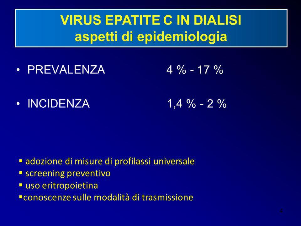 4 VIRUS EPATITE C IN DIALISI aspetti di epidemiologia PREVALENZA 4 % - 17 % INCIDENZA1,4 % - 2 %  adozione di misure di profilassi universale  scree