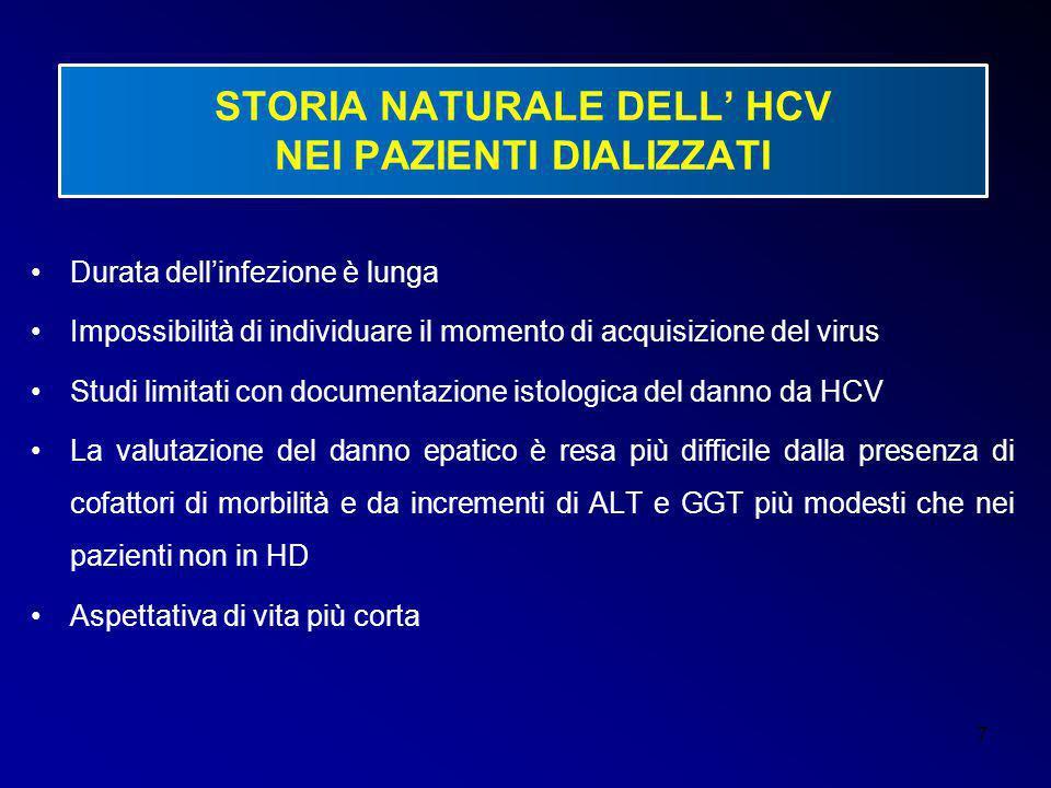 7 STORIA NATURALE DELL' HCV NEI PAZIENTI DIALIZZATI Durata dell'infezione è lunga Impossibilità di individuare il momento di acquisizione del virus St