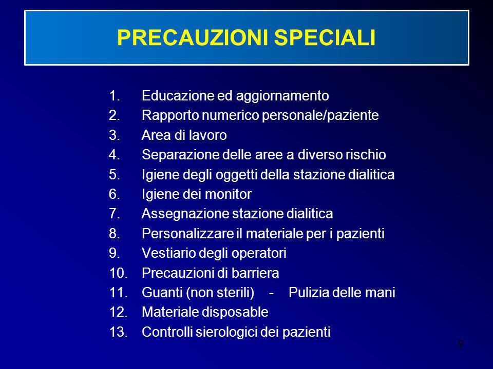 9 PRECAUZIONI SPECIALI 1.Educazione ed aggiornamento 2.Rapporto numerico personale/paziente 3.Area di lavoro 4.Separazione delle aree a diverso rischi